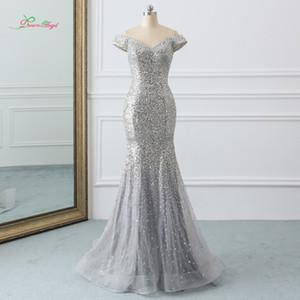 wholesale Sexy V Neck Gray Long Mermaid Prom Dresses 2019 Sweep Train Crystal Vintage Trumpet Party Gown Vestido De Festa