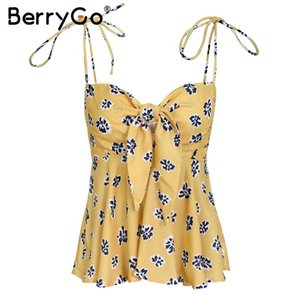 Coton Sexy col en V imprimé fleurs Camisole Shirt Femme Backless Bow Bracelet T-shirts Femme Tops plissés Casual Summer Tank Top Tendance
