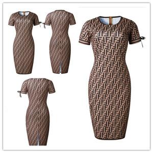 Womens Seksi Elbiseler Moda 2019 Yaz Kadın Bodycon Elbiseler Tasarımcı Kollu FENDl Payetler ile Kadın Bahar Elbise Boyut S-3XL