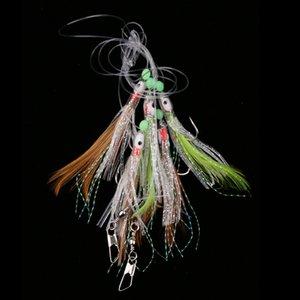 Sabiki Balıkçılık Lure Rigs Bait Mastar Lure Yumuşak Lure Dize Kristal Dikenli Kanca