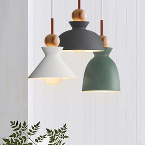 Mode moderne et coloré bois Lampes suspendues Lamparas Minimaliste ombre design Luminaire salle à manger Lumières Chambre Lamp