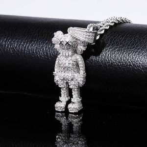 Iced Out Collier Marionnettes Cartoon Pendentif Zircon Collier Mode Hip Hop Bijoux homme Coffrets cadeaux