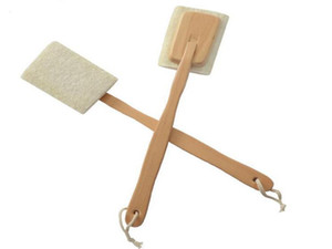 Natural Loofah Brush Exfoliating Dead Skin Body Scrubber Loofah Brush with Long Detachable Wooden Handle Back Brush