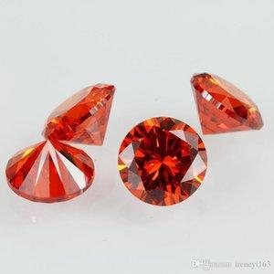 Brillant synthétique ronde de pierrailles Lab Créé cubique Gems Orange Rouge CZ Pour Bijoux Faire 1000pcs / lot