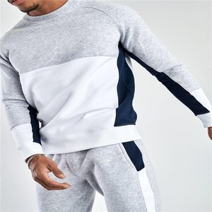 Tacksuit de paneles con paneles de manga larga con capucha de manga larga con capucha Casual Pantalón suelto Homme Sport Traje