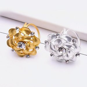 2019 New Fashion Nobal Flower Wedding Brooches Corsage Pins Crystal Holder Tricyclic Scarves Buckle Silk Jewelry Accessories 10pcs lot