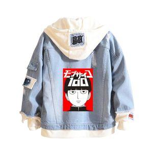 2019 hot sale anime Mob Psycho 100 sweatshirts hoodie Cowboy Fake Two Pieces Sweatshirt Casual Denim men women Jacket