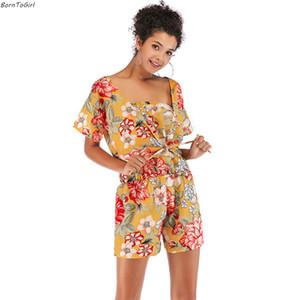 BornToGirl 2019 Primavera Verano Chiffon Two Peice Set Mujer Jumpsuit Estampado de flores + Chaqueta Blusa Corta 2 Set de dos piezas