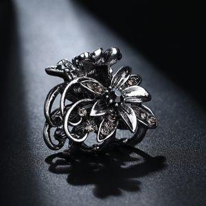 고대 실버 컬러 머리 발톱 클립 작은 꽃 머리 클로 빈티지 헤어 클립 미니 금속 머리 핀 여자 HC019에 대 한 액세서리