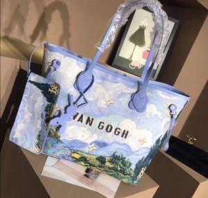 Marka bayan büyük kapasiteli alışveriş çantası Van Gogh yağlıboya buğday tarlası kadınlar lüks tasarımcı çanta omuz çantası crossbody totes