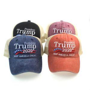 Trump Hat Mantenha América Grande bordado Carta Washed Cap Bola de pano exterior de viagem Trump 2020 Presidente Baseball Caps Party Hats OOA8025