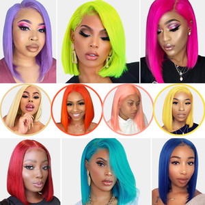 Ishow 13x1 T Part Lace Human Hair Wigs Brazilian Straight Short Bob Wigs 99j 613 Blonde Pink Green Straight Ombre Wigs