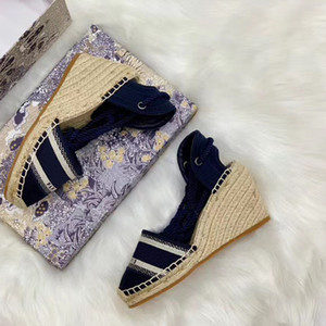2020 New High Heel Sandals Blue White stripes Denim Wedge Espadrilles Sandals Shoes Ladies Luxury Summer outdoor beach causal brand shoes