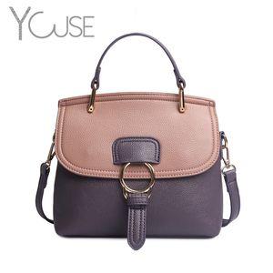 YOUSE Bag Women Leather Genuine Handbags Large Capacity Fashion Designer Brand Buckle Ring Handbag Shoulder Crossbody Women Bag