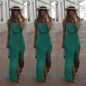 Для женщин Платья Женщины дизайнер одежды Sexy лето женщин шифонового платья Boho вечер Твердого платья пляж платье Сарафаны Drop Доставка