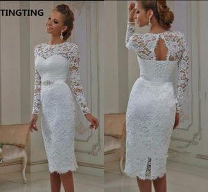Vestido de Noiva bainha de renda branca vestido de noiva curto na altura do joelho petite meninas casuais vestidos de casamento melhor venda vestidos de noiva venda quente
