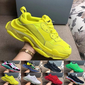 2019 Yüksek kaliteli tasarımcı 17FW Üçlü S orta taban Sneakers kadınları Neon Yeşili lüks artan Marka Casual Baba Ayakkabı mens bir temizle Balon ekler