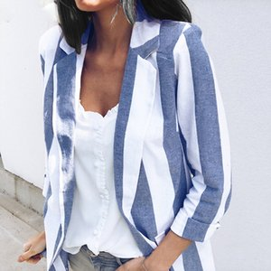2019 Spring Women Blazer Elegant Striped Work Long Sleeve Ol Blazers Suits Ladies Casual Slim Blazer Feminino Jackets Coats Plus Size