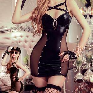 JSY costume noir lingerie coquine costumes sexy fantaisie flic érotique faux cuir robe chapeau gants bas string 9909