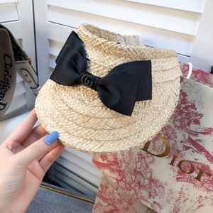 Bow hair hoop sun hat straw plaited empty top duck cap summer sun hat beach cap women no box BB127