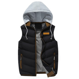 Men Vest Winter Fashion Men's Sleeveless Hooded Vest Man Male Cotton-Padded Waistcoat Jacket and Coat Warm gilet