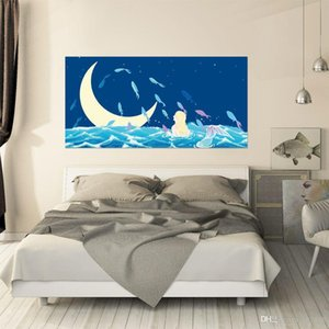 Creative Beauty Girl 3D Bedside Sticker Bedroom Removable Vinyl Decals Sea Moon Wall Mural Waterproof Background Decor