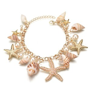 Hot Ozean-Art-Armband Multi Seestern Sea Star Conch Shell Perlen-Ketten-Strand-Armband-Neuheit Ferien Zubehör Designerschmuck Geschenke
