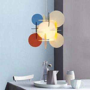 Современный красочный металлический акриловый подвесной свет Macaron цвет люстры люстра живущая комната искусства дома декор лампы PA0614