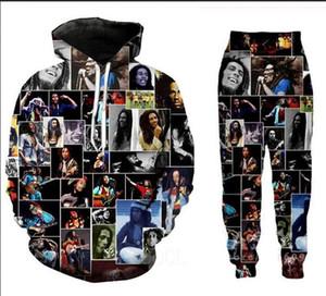 Новые Мужчины / Женщины Боб Марли смешные 3D печати модные спортивные костюмы Crewneck хип-хоп толстовка и брюки 2 шт комплект толстовки