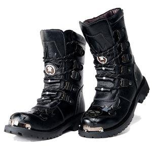 Большой размер Мужчины Military Army ботинки 2019 зимы теплые Gothic Punk Обувь Мужской Motorcycle Boots 4 # 20 / 20D50