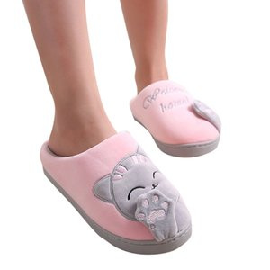 Women Winter Home Slippers Cartoon Cat Non-slip Warm Indoors Bedroom Floor Shoes Plush Slippers Women Slides Flip Flops ##4