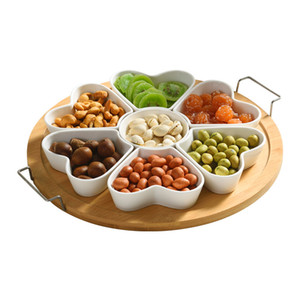 Meyve tabağı güneydoğu asya meyve kutusu bölünmüş moda aperatif tabağı seramik gıda depolama kabı bambu atıştırmalık plakaları
