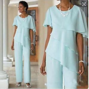 2019 Nueva madre de la novia viste trajes de pantalón Boda vestido de gasa de manga corta con gradas madre de la novia trajes de pantalón
