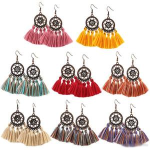11 stili Moda Donna Boemia orecchini nappa lunga frangia ciondolano Hook Eardrop artigianali etnici gran lunga orecchini gioielli