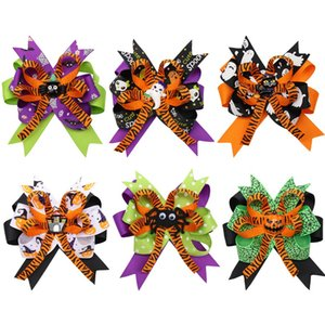 4.5Inch Halloween Hair Bows for Girls Printed Hair Clip Pins Pumpkin Ghost Patches Hairpin Festival Party Kids Hair Accessories Gifts