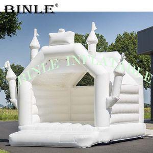 الحرة الشحن 5x4m تصميم حسب الطلب منزل نفخ الحارس الزفاف الأبيض، ذات نوعية جيدة القلعة حفل زفاف نطاط