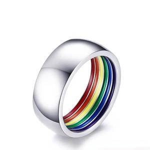 Moda Personalizada Dentro de la Joyería de Color Arco Iris 8 MM Anillos de Diseño Distintivo de Acero Inoxidable para Hombres Hombres Anillo Orgullo Gay Joyería Nuevo
