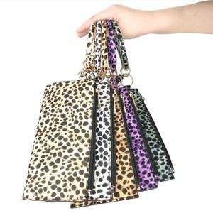 Leopard cinturino dell'orologio Portachiavi Hang borsa del cambiamento nappa braccialetto portachiavi Pochette Wristlet Bracciali supporto della catena chiave 6 colori 50pcs DW4914