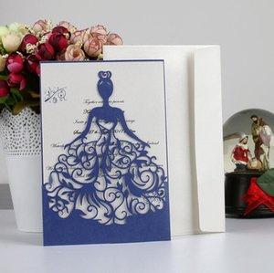 cartão de convite de casamento 5 cores Modern oca fora de bolso com envelope cartões impressos a laser tampa corte convida elegante do partido