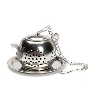 304 in acciaio inox rotonda Teiere Forma Colino da tè con catena maniglia Tea Pot setaccio di Infuser del filtro con un vassoio