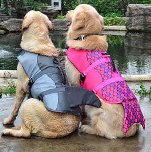 Os mais recentes Brasão Dog coletes Vest Cosplay Mermaid tubarão Pet Natação Training Dogs Swimsuit Big Dog roupa ao ar livre Equipamento de trem