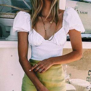 Foridol vendimia puff cosecha de la manga tops mujeres blusa blanca tops de algodón túnica v cuello del hombro streetwear negro tapa de la camisa blusa