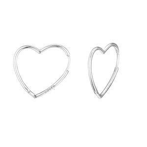 Compatibile con orecchini a cuore in argento 925 asimmetrici a cuore grande in argento sterling per gioielli stile europeo da donna