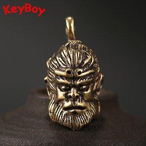 Pure Brass Monkey King Sun Wukong Portachiavi Pendenti Chinese Buddha of Fighting Chain degli uomini delle donne dell'annata Car Key Anelli impiccagioni