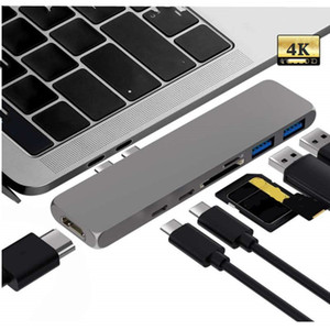7 En 1 HUB USB 3,1 tipo C USB-C Hub a HDMI adaptador HDTV 4 K Thunderbolt 3 USB C 3,0 TF SD lector ranura PD carga para MacBook Pro/aire