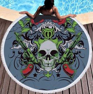 multifunctional circular beach towel skull beach blanket custom microfiber Europe and America ins Home Decor Yoga Mat Shawl digital printing