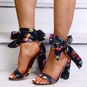 Women Sandalias High Heels Sexy Gladiator Rome Sandals Summer Ribbon Pumps Lady Shoe Party Dress Print Heels Sandalias