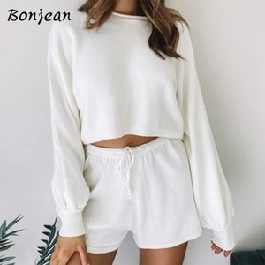 BONJEAN Long Sleeve Two Piece Sets Crop Top And Shorts Women Knit Loose Set Casual Female Summer Women's Bikes 2020 White Outfit T200707