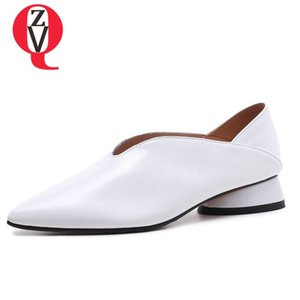 ZVQ genuine leather Office Lady Spring woman pumps 33-43 large size Strange Style graceful 3cm low heels Shallow women shoes