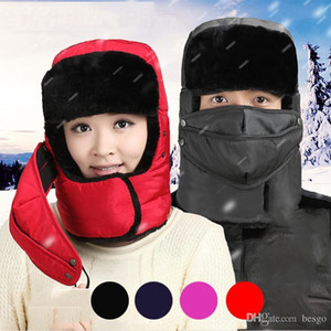 Unisex Expedition Windproof Kış Trapper Şapka Maskesi Açık Kış Kalın Sıcak Hat Kayak Spor Parti Şapkası DH0344 ile